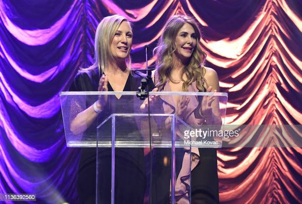 Gala CoChairs Julie Jumonville and Kelly Green present onstage at Global Wildlife Conservation's Wild Night For Wildlife annual gala hosted by Brian...