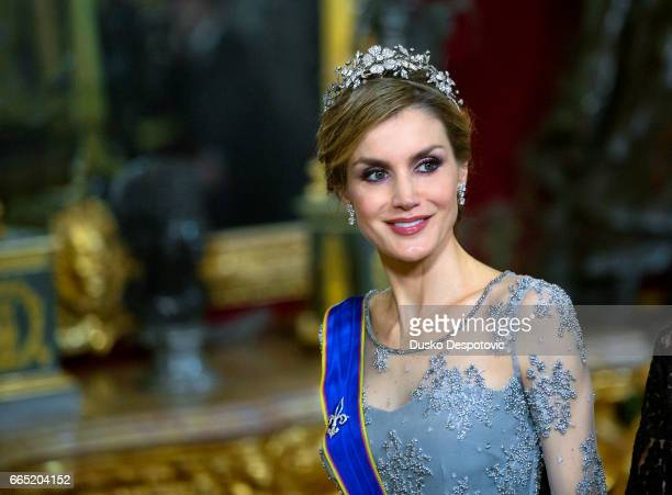Gala Dinner at the Spanish Royal Palace in Madrid hosted by the Kings of Spain Felipe VI and Letizia Ortiz in honour to the President of Colombia Mr...