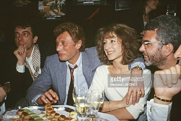 Gala Evening for the Movie La Balance In Paris France On April 07 1983 French actress Nathalie Baye with singer Johnny Hallyday at the gala evening...