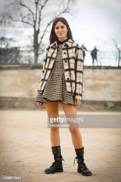 Gala gonzales wearing Dior jacket and Dior dress outside the Dior show as part of the Paris Fashion Week Womenswear Fall/Winter 2020/2021 on February...