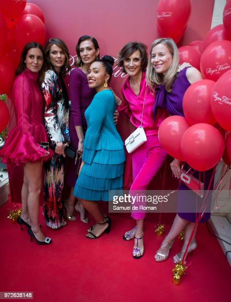 Gala Gonzalez Alejandra Rojas Nieves Alvarez Luna Lionne Ines de la Fressenge and Maria Leon attend 'Roger Vivier Loves Madrid' party at Palacio...