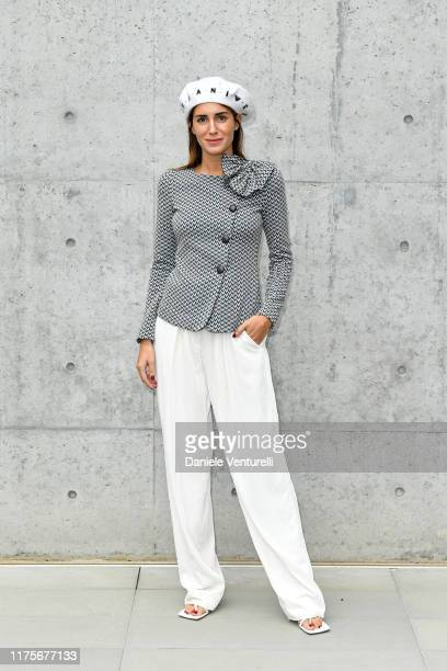 Gala Gonzalez attends the Emporio Armani fashion show during the Milan Fashion Week Spring/Summer 2020 on September 19 2019 in Milan Italy