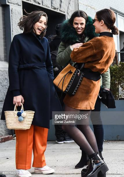 Gala Gonzalez is seen wearing a brown jacket and brown skirt outside of the 31 Phillip Lim show during New York Fashion Week Women's Fall/Winter 2017...