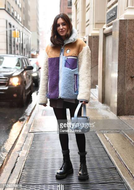 Gala Gonzalez is seen wearing a Coach fur coat outside the Coach 1941 show during New York Fashion Week Fall/Winter 2019 on February 12 2019 in New...