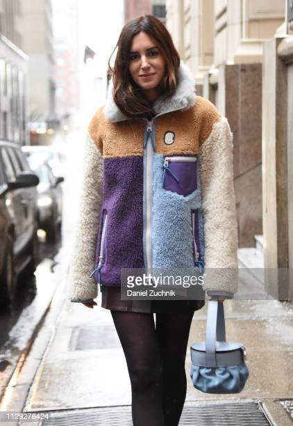 Gala Gonzalez is seen wearing a Coach fur coat outside the Coach 1941 show during New York Fashion Week: Fall/Winter 2019 on February 12, 2019 in New...