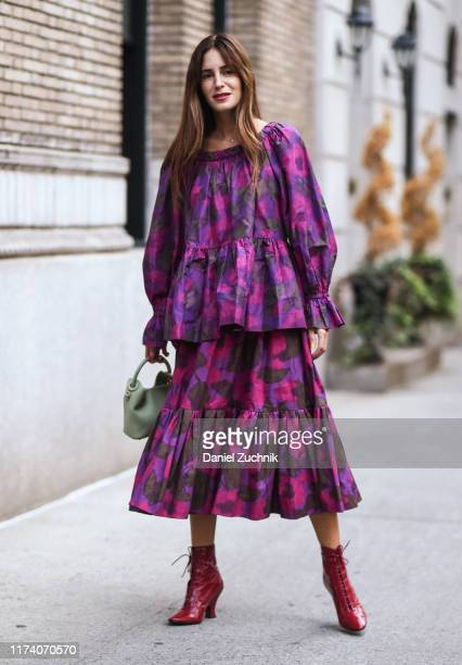 Gala Gonzalez is seen wearing a Marc Jacobs dress outside the Marc Jacobs show during New York Fashion Week S/S20 on September 11, 2019 in New York...