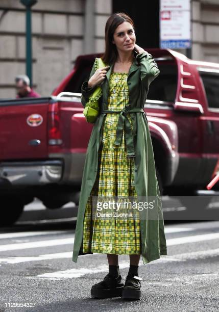 Gala Gonzalez is seen wearing a Michael Kors dress outside the Michael Kors show during New York Fashion Week Fall/Winter 2019 on February 13 2019 in...