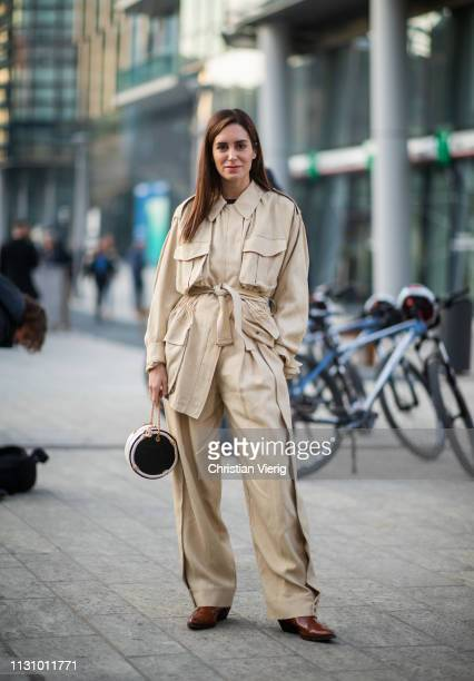 Gala Gonzalez is seen wearing beige pants jacket outside Alberta Ferretti on Day 1 Milan Fashion Week Autumn/Winter 2019/20 on February 20 2019 in...