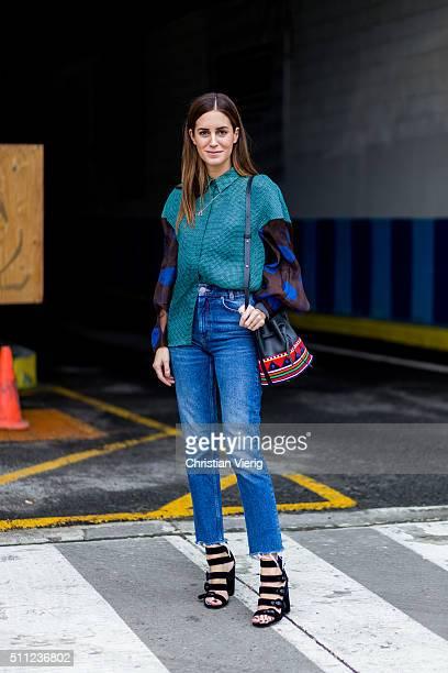 Gala Gonzalez is wearing a Delpozo jacket and blue denmi jeans seen outside Delpozo during New York Fashion Week Women's Fall/Winter 2016 on February...