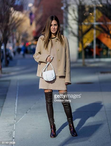 Gala Gonzalez seen outside Calvin Klein during New York Fashion Week Women's Fall/Winter 2016 on February 18 2016 in New York City