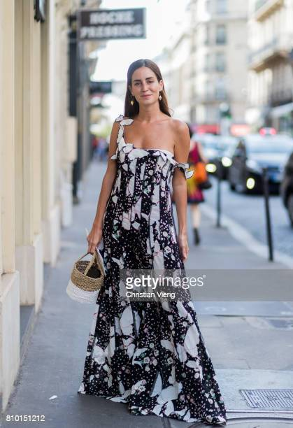 Gala Gonzalez wearing a black white dress outside Valentino during Paris Fashion Week Haute Couture Fall/Winter 20172018 Day Four on July 5 2017 in...