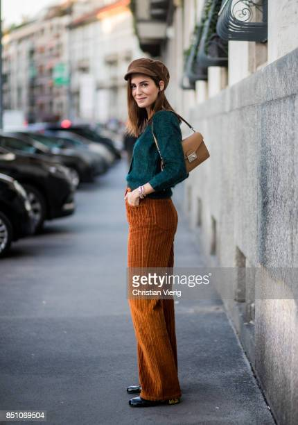Gala Gonzalez wearing a flat cap corduroy pants is seen outside Prada during Milan Fashion Week Spring/Summer 2018 on September 21 2017 in Milan Italy