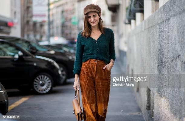 Gala Gonzalez wearing a flat cap corduroy pants is seen outside Prada during Milan Fashion Week Spring/Summer 2018 on September 21 2017 in Milan Italy