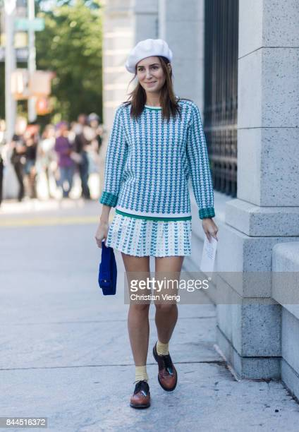 Gala Gonzalez wearing a white beret knit mini skirt seen in the streets of Manhattan outside Tory Burch during New York Fashion Week on September 8...
