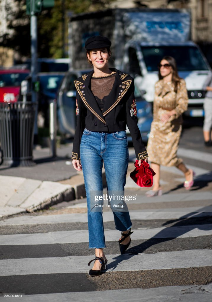 Gala Gonzalez wearing flat cap, denim jeans blazer jacket is seen outside Alberta Ferretti during Milan Fashion Week Spring/Summer 2018 on September 20, 2017 in Milan, Italy.
