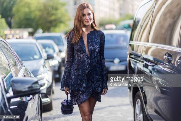Gala Gonzalez wearing navy blazer outside Armani Prive during Paris Fashion Week Haute Couture Fall/Winter 20172018 Day Three on July 4 2017 in Paris...
