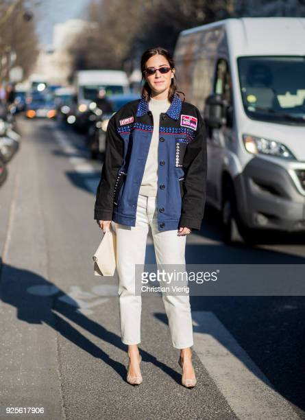 Gala Gonzalez wearing white cropped pants jacket is seen outside Lacoste on February 28 2018 in Paris France