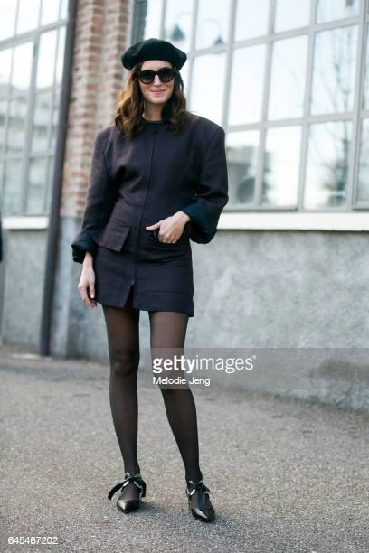 Gala Gonzalez wears a black outfit black beret and JW Anderson shoes outside Missoni during Milan Fashion Week Fall/Winter 2017/18 on February 25...