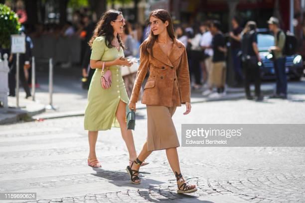 Gala Gonzalez wears a Christian Dior tan-color suede jacket, a green Christian Dior bag, light camel bermuda shorts, black gladiator espadrilles,...