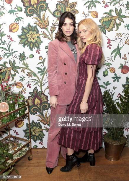 Gala Gordon and Clara Paget attends the launch of Tanqueray No TEN and House of Hackney's exclusive partnership at Petersham Nurseries on December 12...