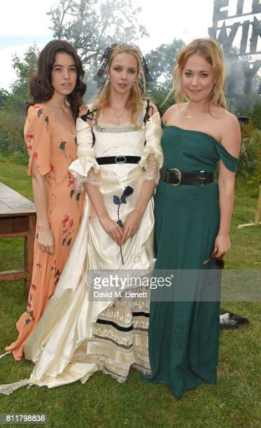 Gala Gordon Greta Bellamacina and Poppy Jamie attend Greta Bellamacina and Robert Montgomery's wedding on July 8 2017 in Exeter England