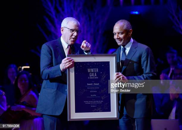 Gala Honoree Kenneth Chenault accepts the Lincoln Center Laureate Award from David Rubenstein onstage at the Winter Gala at Lincoln Center at Alice...