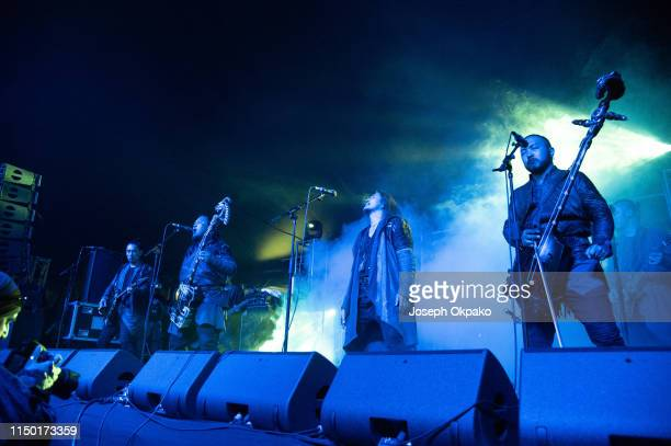 Gala of The Hu performs on stage during Download festival 2019 at Donington Park on June 14 2019 in Castle Donington England