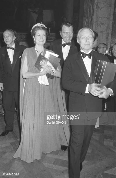 Gala organized by the Baroness de Rothschild for the restoration of Versailles castle in Versailles France on November 28 1973 Princess Grace of...