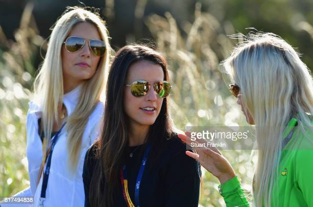 Gala Ortin Angela Akins and Sofia Lundstedt chat during a practice round prior to the 146th Open Championship at Royal Birkdale on July 18 2017 in...