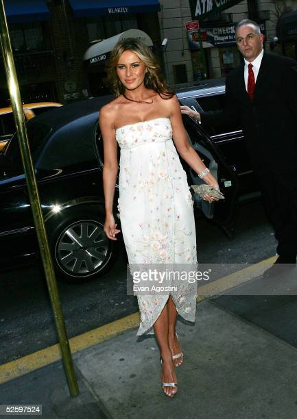 Gala vicechair Melania Trump wife of Donald Trump arrives at the Martha Graham Dance Company opening night gala at New York City Center on April 6...