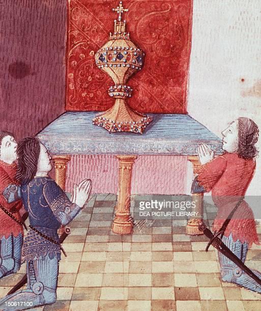 Galahad Perceval and Bohors kneel before Holy Grail miniature from manuscript 122 folio 179 verso France 15th Century