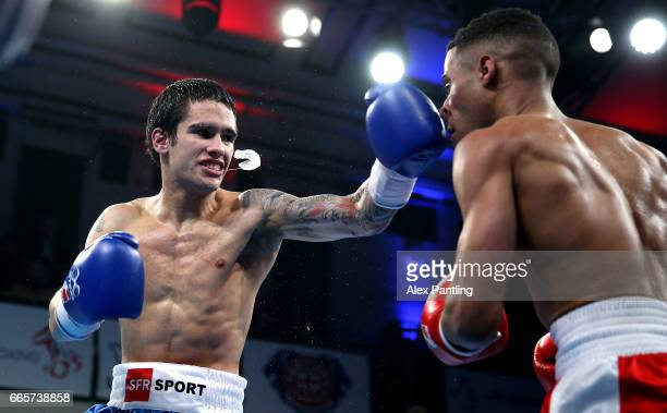 Galal Yafai of British Lionhearts fights Martin Molina of France Fighting Roosters during the World Series of Boxing at York Hall on April 6, 2017 in...