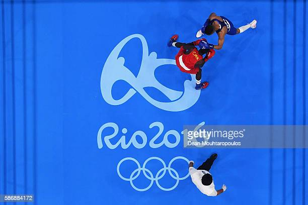 Galal Yafai of Great Britain competes against Simplice Fotsala of Cameroon in their Men's Light Fly 4649kg Preliminary bout on Day 1 of the Rio 2016...