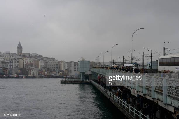 Galata bridge and disitrict in Istanbul