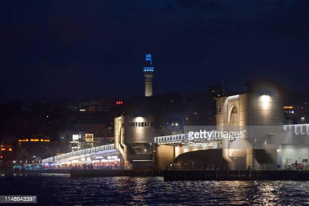 Galata Bridge in Istanbul by night