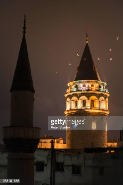 Galata tower at night, Istanbul, Turkey