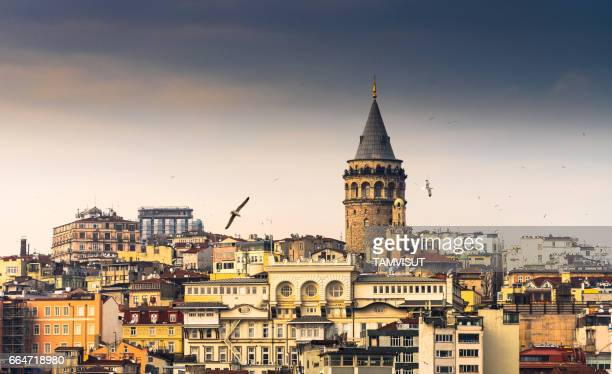 galata tower, istanbul , turkey. - istanbul stock photos and pictures