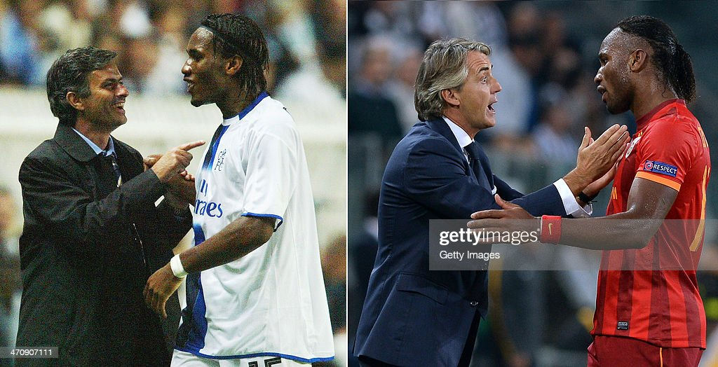 IMAGES - Image Numbers 51305246 (L) and 182938246) In this composite image a comparison has been made between Chelsea Manager Jose Mourinho (L) and Galatasaray AS coach Roberto Mancini. Galatasaray and Chelsea meet in the UEFA Champions League Round of 16 with the first leg on February 26, 2014 and the 2nd leg on March 18, 2014. TURIN, ITALY - OCTOBER 02: Galatasaray AS coach Roberto Mancini (L) has words with Didier Drogba during UEFA Champions League Group B match between Juventus and Galatasaray AS at Juventus Arena on October 2, 2013 in Turin, Italy.