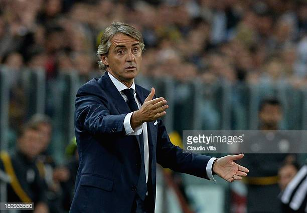 Galatasaray AS coach Roberto Mancini reacts during UEFA Champions League Group B match between Juventus and Galatasaray AS at Juventus Arena on...