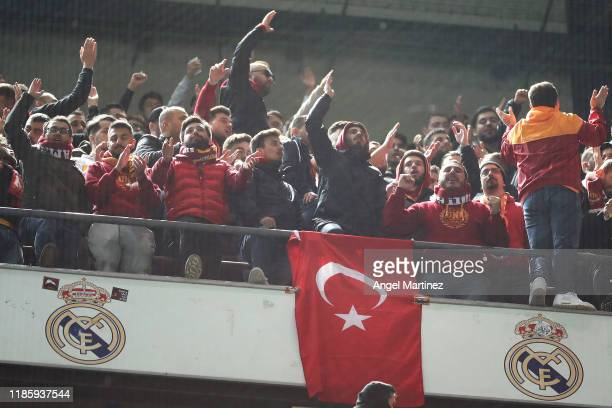 Galatasaray fans are seen during the UEFA Champions League group A match between Real Madrid and Galatasaray at Bernabeu on November 06 2019 in...