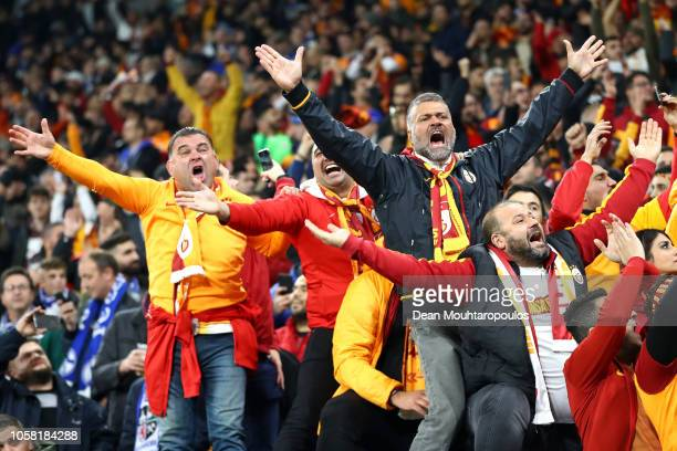 Galatasaray fans enjoy the pre match atmosphere prior to the Group D match of the UEFA Champions League between FC Schalke 04 and Galatasaray at...