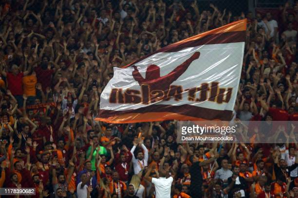 Galatasaray fans show their support during the UEFA Champions League group A match between Galatasaray and Paris Saint-Germain at Turk Telekom Arena...