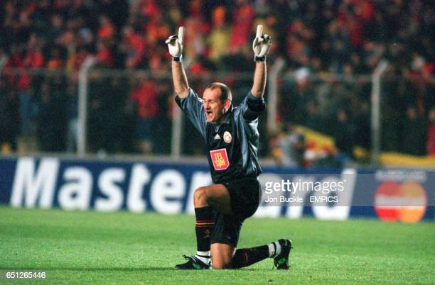 Galatasaray goalkeeper Claudio Taffarel celebrates one of the goals in his team's amazing comeback victory