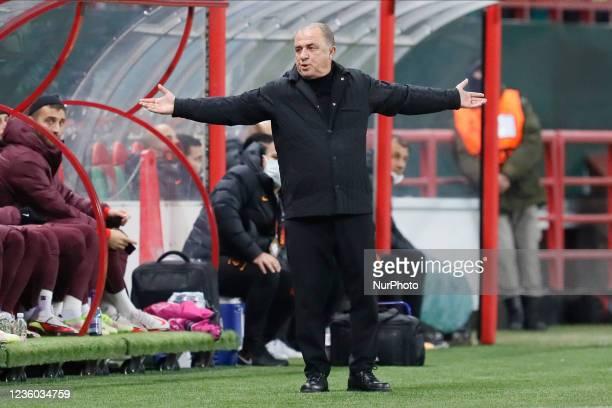 Galatasaray head coach Fatih Terim reacts during the UEFA Europa League Group E football match between FC Lokomotiv Moscow and Galatasaray SK on...
