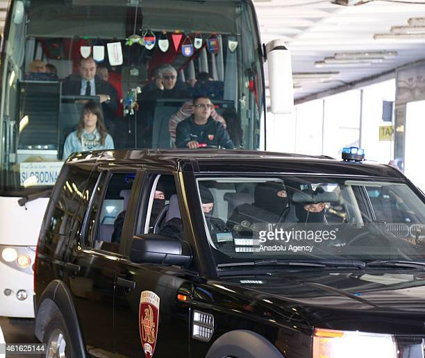Galatasaray Liv Hospital arrives as police officers stand guard at Nikola Tesla International Airport before the Euroleague Basketball Top 16 Round 3...