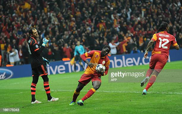 Galatasaray players celebrate their first goal against Real Madrid on April 9 2013 during a UEFA Champions League quarterfinal second leg football...