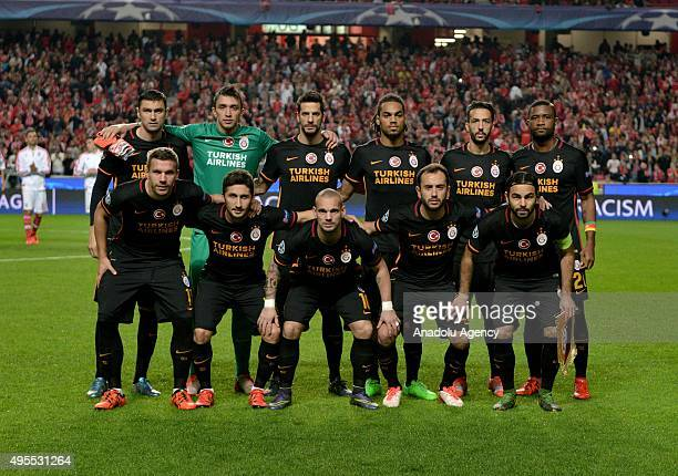 Galatasaray players pose for a group photo prior to the UEFA Champions League Group C soccer match between Benfica and Galatasaray at Luz Stadium in...