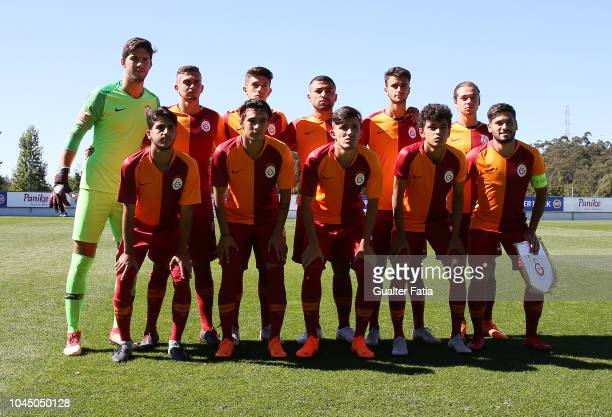 Galatasaray players pose for a team photo before the start of the UEFA Youth League match between FC Porto and Galatasaray at Centro de Estagios do...