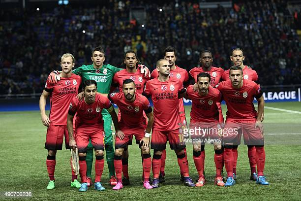 Galatasaray players pose for a team photo prior to the UEFA Champions League Group C football match between FC Astana and Galatasaray AS at Astana...