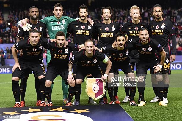 Galatasaray team pose before the UEFA Champions League Group C football match Club Atletico de Madrid vs Galatasaray AS at the Vicente Calderon...